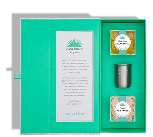 Sugarfina Casamigos Tequila Candy Gift Box! Includes Shake Your Margarita Gummy, Paloma Por Favor Sour Gummy And Shot Glass! Blue Waver Agave Tequila Infused Gummy Candies! Non-Alcoholic Chewy Gummies