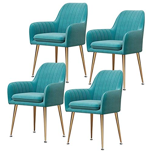 SFSGH Classic Retro Dining Chairs Set of 4 Velvet Seat with Backrests & Metal Legs Armchair Kitchen Counter Chairs for Living Room Reception Chairs