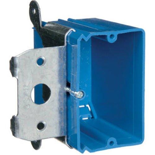 Carlon B121ADJ Outlet Box, New Work, 1 Gang, 3-3/4-Inch Length by 3-7/8-Inch Width by 3-3/8-Inch Depth, Blue