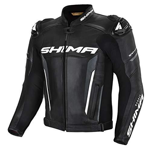 SHIMA BANDIT Giacca Moto Uomo -Sportiva Giubbotto moto uomo in pelle estiva ventilato con cursori di spalla, protezioni CE per schiena, spalle e gomiti, doppie cuciture rinforzate (Nero, 46)
