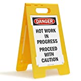 SmartSign-SF-0295-FB 'Hot Work In Progress, Proceed with Caution' Folding Floor Sign | 25' x 12' Plastic - Black/Red on White