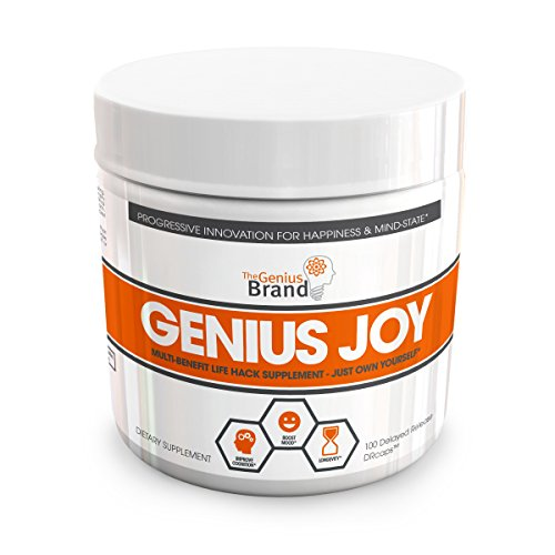Genius Joy - Serotonin Mood Booster for Anxiety Relief, Wellness & Brain Support, Nootropic Dopamine Stack w/ SAM-E, Panax Ginseng & L-Theanine – Natural Anti Stress & Herbal Calm, 100 veggie pills