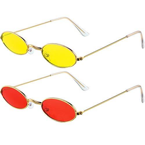 2 Paar Vintage Ovale Sonnenbrille Kleine Ovale Sonnenbrille Mini Vintage Stilvolle Runde Brille für Frauen Mädchen Männer (Rot/Gelb Linse und Gold Rahmen)
