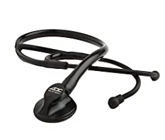 Adjustable frequency design (AFD) enhances acoustic performance. Sculpted chestpiece is CNC machined to exacting tolerances from surgical stainless steel. High-performance cardiology headset features black anodized aluminum binaurals and Adsoft Plus ...