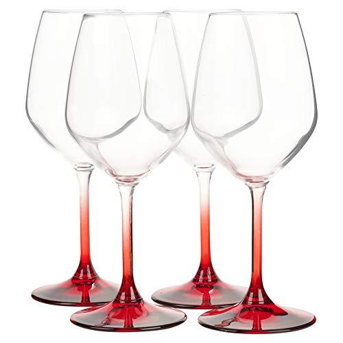 Bormioli Rocco Lot de 4 coupes à champagne/verres à vin à pied coloré de fabrication italienne, Red, Wine Glasses