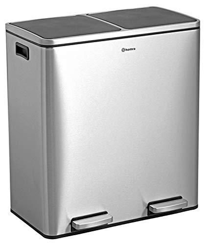 Homra Luxus Mülltrennsysteme - 2 Fach Mülleimer mit Inneneimern - 60 Liter (2x30 L) Design Treteimer aus Edelstahl - Quickx