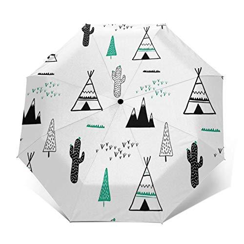 Paraguas Plegable Automático Impermeable Camping Tipi, Paraguas De Viaje Compacto A Prueba De Viento, Folding Umbrella, Dosel Reforzado, Mango Ergonómico