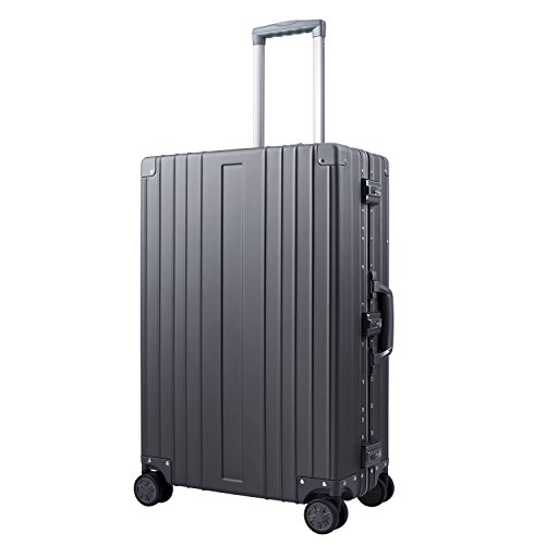 Travelking Aluminum Luggage Carry On Spinner Hard Shell Suitcase Lightweight Metal Suitcases (Grey, 24 inch)