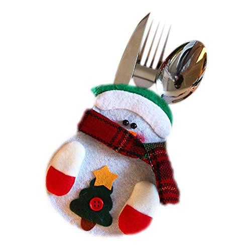 Oinna 1 juego de cuchillo y tenedor de peluche hecho a mano, cuchillo y tenedor, juego de vajilla de Navidad con muñeco de nieve