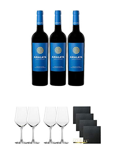 Amalaya Wein (blaues Label) Argentinien 3 x 0,75 Liter + Rotweinglas Stölzle - 3770001 2 Stück + Rotweinglas Stölzle - 3770001 2 Stück + Schiefer Glasuntersetzer quadratisch 4 x ca. 9,5 cm Durchmesser