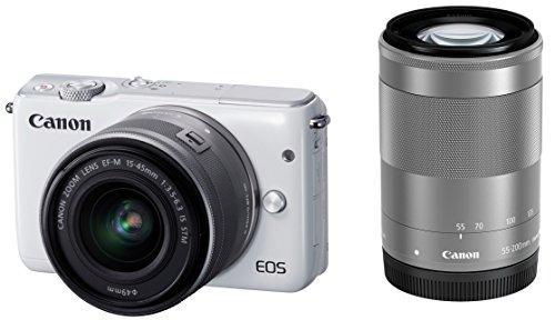 Canon ミラーレス一眼カメラ EOS M10 ダブルズームキット(ホワイト) EF-M15-45mm F3.5-6.3 IS STM EF-M55-200mm F4.5-6.3 IS STM 付属 EOSM10WH-WZK