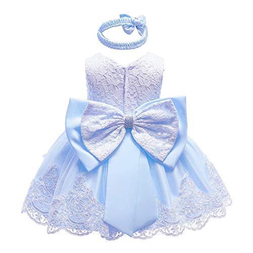 Vestido de princesa para bebé, sin mangas, falda de encaje, vestido formal de tutú, azul claro, 3-6 meses/66