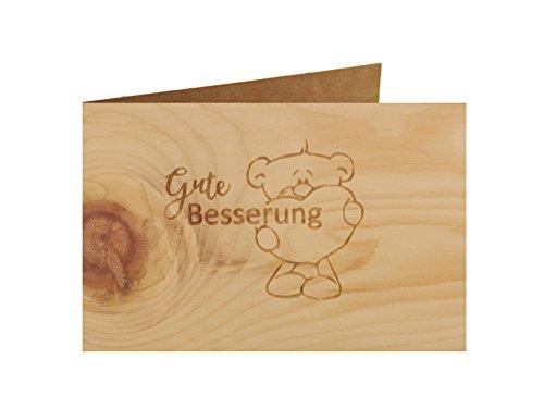 Holzgrußkarte - Spruchkarte - 100% handmade in Österreich - Postkarte Glückwunschkarte Geschenkkarte Grußkarte Klappkarte Karte Einladung, Motiv:GUTE BESSERUNG