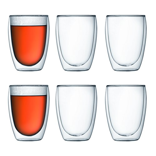 Bodum Pavina Double Wall Insulated Glasses, 12 Oz. (6-Pack), Clear