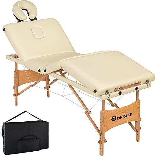 tectake 800794 Mobile Massageliege, 4 Zonen Massagebank, klappbar, höhenverstellbar, Massagetisch aus Holz, tragbar, inkl. Tragetasche - diverse Farben - (Creme | Nr. 403406)