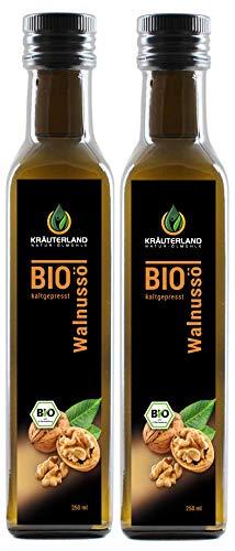 Kräuterland Bio Walnussöl, 500ml, nativ, kaltgepresst, 100% naturrein, sehr nussiger Geschmack, Speiseöl in Gourmetküche(2 x 250ml)