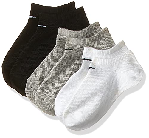 Nike calzini cortissimi Uomo, pacco da 3, Grigio, Nero, Bianco, 42-46 (L)