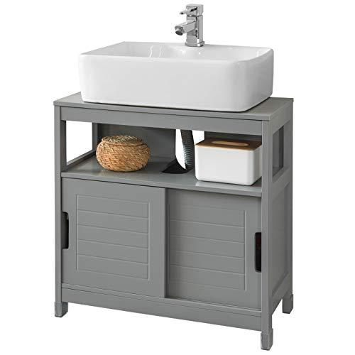 SoBuy FRG128-SG Waschbeckenunterschrank Badmöbel Badschrank mit Fußpolster Waschtisch Unterschrank dunkelgrau BHT ca.: 60x61x30cm