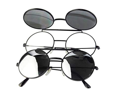 V137-vp Flip up/Out Round Metal Sunglasses 2' Lens (6006RV Black-Amethyst mirror, mirrored)