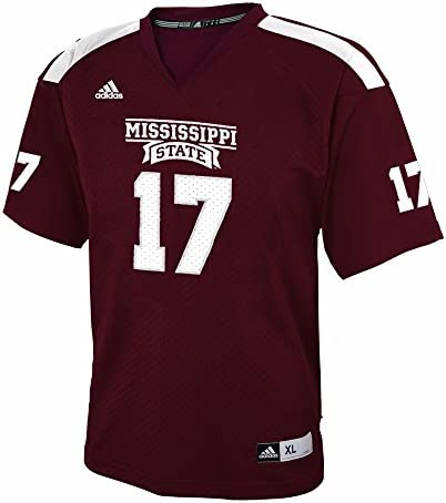 adidas Mississippi State Bulldogs NCAA Maroon Official Home #17 Replica Football Jersey for Youth