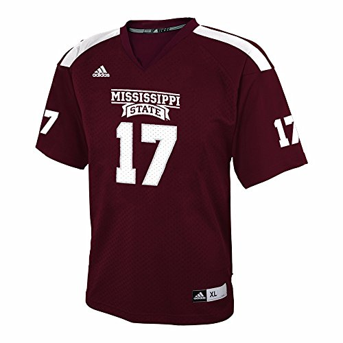 adidas Mississippi State Bulldogs NCAA Maroon Official Home #17 Replica Football Jersey for Youth (XL)