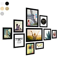 Photolini Juego de 10 Marcos Basic Collection Modernos, Negros de MDF, Incluyendo Accesorios/Collage de Fotos/galería de imágenes