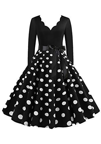EFOFEI Vestido de mujer para Navidad, Halloween, fiesta, manga larga, línea A, falda grande, vestido de cóctel, fiesta, festival, carnaval y vestido con lazo VB-negro. M