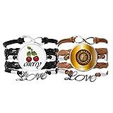 Bestchong Pulsera de cuero con diseño de casino realista con ilustración de tocadiscos y cuerda de piel y cereza, juego doble