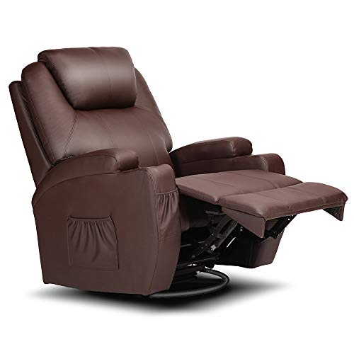 Electric Massage Chair Recliner Ergonomic Armchair Swivel Heated Leather Sofa (Electric Massage Chair Adjust Head-Brown)