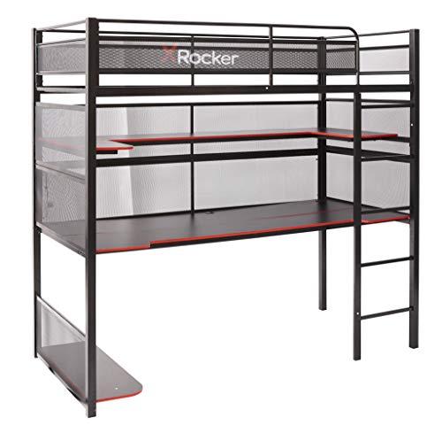 X-Rocker BattleBunk Gaming Bunk Bed, High Sleeper with Desk, Shelves and Ladder, Single 3ft Frame, Metal Kids Loft Bed, Black