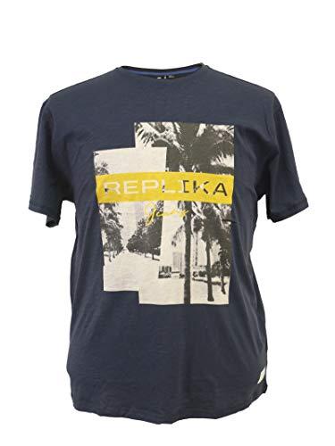 Replika jeans XXL T-Shirt mit Druck blau, Größe:6XL