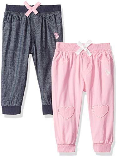 U.S. Polo Assn. Baby Girls 2 Pack Jogger, Knee Hearts with Jersey Lining Prism Pink, 6-9 Months