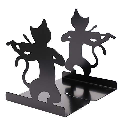 L型 黒猫 ブックエンド 本立て 金属製 ブックスタンド 卓上収納 本棚 ブックオーガナイザー 机上収納 ファイル/雑誌/新聞/書類入れ 事務用品 オフィス 2枚1組 おしゃれ