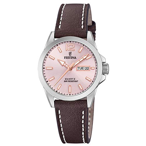 Festina Damen Analog Quarz Uhr mit Leder Armband F20456/2