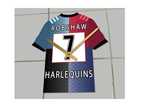 MyShirt123 Rugby Union – Rugby-Shirt Uhr – jeder Name & Jede Nummer – Sie wählen!, Harlequins Rugby RFC, 19.5CM X 18CM X 0.5CM