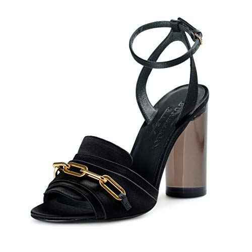 BURBERRY Women's COLEFORD Satin Leather High Heel Sandals Shoes US 6 IT 36 Black