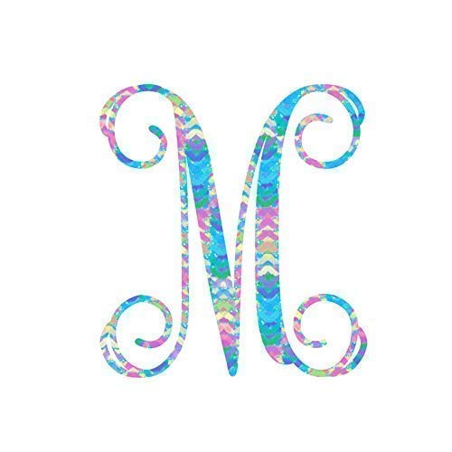 Personalized Vine Monogram M Initial Sticker Decal for Yeti Cups, Laptops, Tumblers, or Car Window Accessories | Preppy Monogrammed Gifts for Women | Blue, Pink, Yellow – 3.25 inches