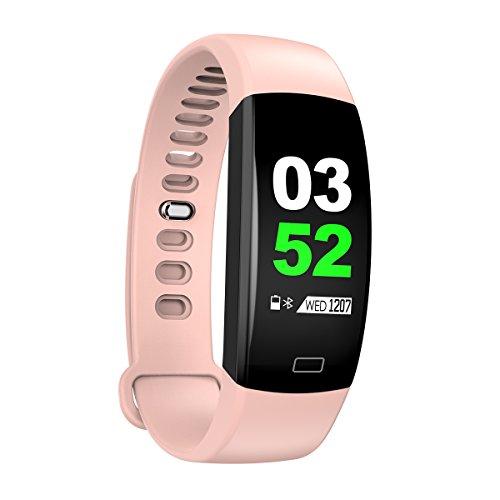 IP68 impermeabile 2018 F64HR Fitness Tracker Smart Watch display a colori pressione sanguigna cardiofrequenzimetro Sport GPS Bracciale per iOS/Android