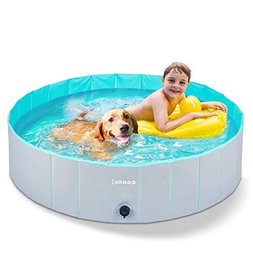 lunaoo Piscina para Perros - Bañera Plegable para Mascotas, Antideslizante y Resistente al Desgaste Bañera para Niños Natación Piscina para Mascotas Perros 80cm / 120cm / 160cm