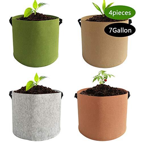 LIBHW 3er-Pack/Stoff Pflanzenkübel, 7 Gallonen Kartoffel-Taschen Grow-Breath Gepolstertes Vliesstoff Blumentöpfe Pflanze Taschen für Peppers Potatofor Kartoffel, Karotte, Tomate