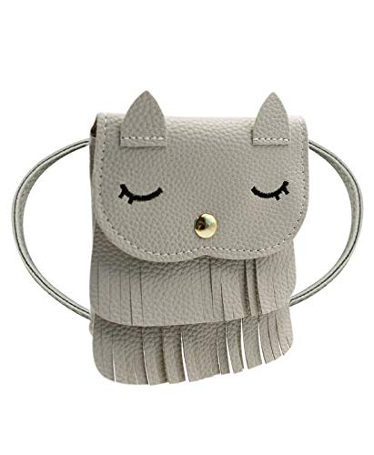 ZGMYC Kids Toddlers Cat Tassel Crossdy Bag Small Shoulder Purse Gift for Little Girls, Grey (Large)