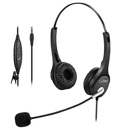Callez Corded Cell Phone Headset Dual, 3.5mm Phone Headsts with Noise Canceling Mic for iPhone Samsung Huawei Smartphones, Skype, Car Truck Driver, iPad, PC, Conference Calls, Online Classes(C402E1)
