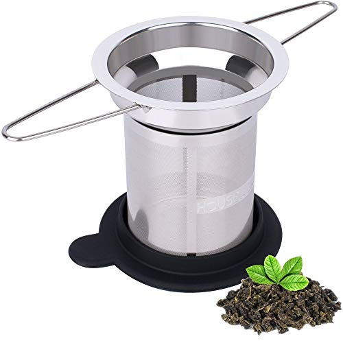 2 Pack Extra Fine Mesh Tea Infuser by House Again - Fits Standard Cups Mugs Teapots - Perfect Stainless Steel Filter for Brewing Steeping Loose Tea, Travel Ready
