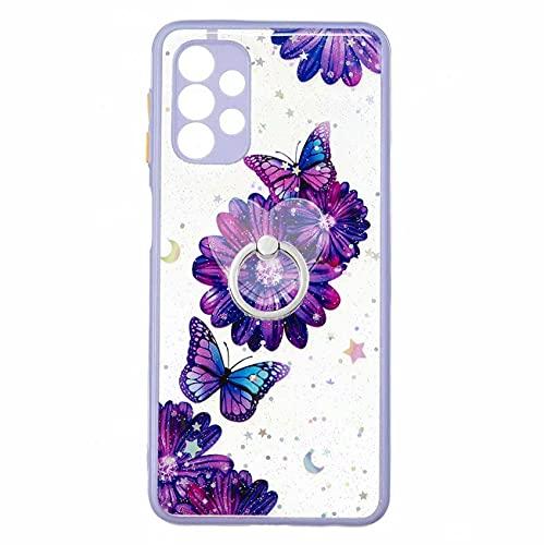 Miagon Brillantini Cover per Samsung Galaxy A72 4G/5G,Trasparente Glitter Custodia Rigida PC Shell Protettiva con 360 Gradi Ring Kickstand,Viola Farfalla Fiore