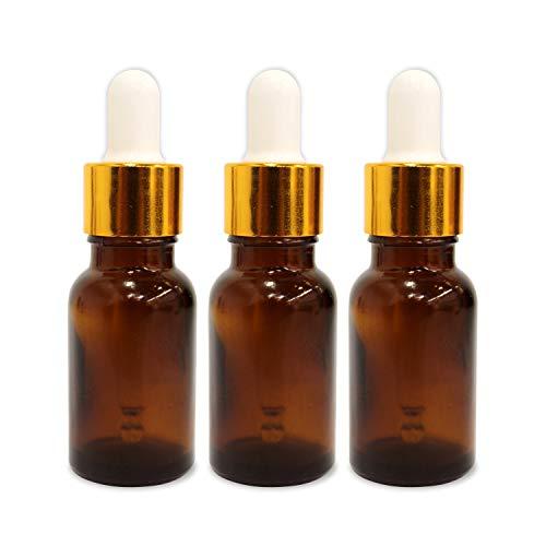 Shoprythm (3 Pack) 0.50 Oz Glass Amber Bottle with Golden Dropper & Funnel
