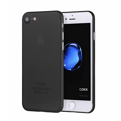 doupi UltraSlim Custodia per iPhone SE (2020) / iPhone 8/7 (4,7 Pollici), Satinato fine Piuma Facile Mat Semi Trasparente Cover, Nero