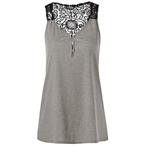 ESAILQ Damen T-Shirts Damen Sommer Uni Basic Kurzarm Tops Oberteil Leichtes mit Schnürung (L,Grau)