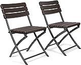 Coppia di sedie pieghevoli da esterno in simil rattan