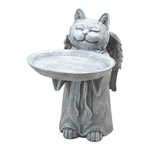 Comfy Hour Pet in Loving Memory Collection Resin Memorial Cat Angel Birdfeeder Pet Statue, Handmade, Faithful Memory of Cat's Bereavement