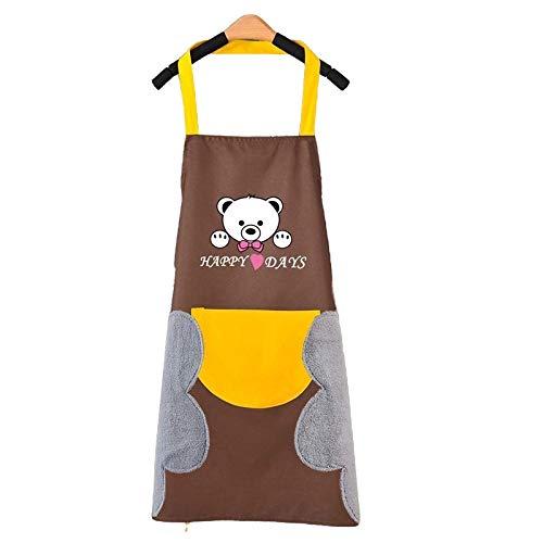 Im Inneren, TikTok Internet-Prominente, den gleichen Stil, Küchenschürze wasserdichte und schmutzige Hände, Familienbund, koreanische kreative niedliche Bär hängen Hals Handtuch Schürze Großhandel